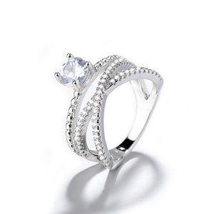 CRISS CROSS Silver925&RHO. DIAMOND RING